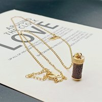 Titanium steel gold letter L Leather necklace women perfume bottle pendant ladies designer gift for girlfriend social holiday jewelry does not fade