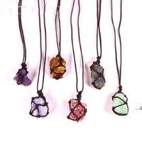 هدية الحب الكريستال الطبيعي الكوارتز ريكي شفاء شقرا الأحجار الكريمة اليد المنسوجة صافي حقيبة خشنة الحجر كبير الجسيمات قلادة مجوهرات FWF8073