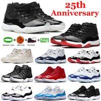 고품질 25 주년 기념 BRED 로우 11 11S 농구 신발 화이트 콩코드 45 전설 블루 스페이스 잼 백금 색조 운동화 여성 스포츠 트레이너
