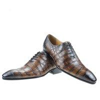 Dress Shoes Sapato masculino de couro legítimo, sapato para casamento com estampa crocodilo e cadarço autêntico, verão, QA10