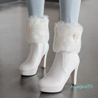 small big size 32 to 43 chunky heels ankle booties winter white fur boots bridal wedding shoes come with box