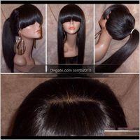 Perruque frontale en dentelle droite soyeuse avec franges complètes Ponyne Vierge Vierge Brésilienne Cheveux humains Perruques pleines de dentelle pour femmes Couleur naturelle Lennr DQY1G
