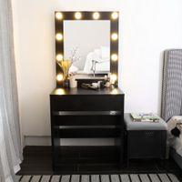 Waco Vanity Aydınlatılmış Ayna ile Set, Yatak Odası Mobilya Makyaj Soyunma Masa Dresser Masası Büyük Çekmece, Siyah, Sıcak Işık