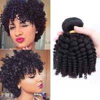3 связки тетя Фунми, скручиваемость 8А бразильцы 100% необработанные человеческие волосы Weaves Fumi Weave Extensions Bouncy