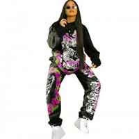 Women's Tracksuits Fashion Floral Print Two Piece Set For Women Pullover Hoodies And Sweatpants Outfits 2021 Street Style Hip Hop Tracksuit