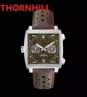Square Dial Designer Mens Watch 40mm Leather Strap Quartz Chronograph Blue Gulf Racing Sapphire Special Edition 5TM Waterproof wristwatch montre de luxe l