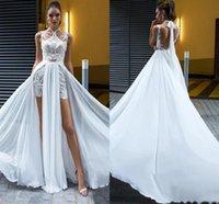 Halter Lace Appliques Beaded Beach Wedding Gowns Side Split Chiffon A Line Bohemian Short Bridal Dress 2021 Backless Summer Boho Vestidos De Novia Plus Size AL9011