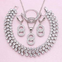 Wedding Jewelry Sets Women 925 Silver Exquisite White Crystal Earring Bracelet Pendant Necklace Ring Christmas Gift