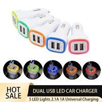 듀얼 USB LED 가벼운 자동차 충전기 5V 2.1A 1A 차량 휴대용 전원 어댑터 아이폰 삼성 안드로이드 휴대 전화 태블릿 GPS 다양 한 색상