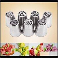 Werkzeuge Backformen Küche, Essbar Home GardenWoSale- 7pcs / set Russische Tulpe Vereisung Rohrleitungsdüsen Kuchen Dekoration Tipps 3D Druckerdüse