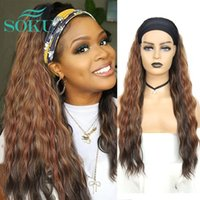 Synthetic Wigs Long Wavy Headband Wig For Black Women Full Machine Made SOKU Ombre Brown Color Daily Fashion With