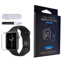 UV Nano Líquido Capa Completa Peças de Tela de Vidro Temperada Protetor para Apple Iwatch 44 42 40 38 no pacote de varejo