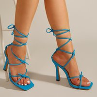 Sandals Large Size Straps Cross-Shoes Suit Female Beige Summer Heels Square Toe 2021 Women's Big Black Spring Fashion Girls Com