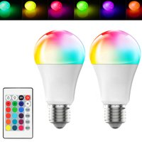 LED E27 10W Dimmable RGB LED Bulb High Brightness Plastic Aluminum Remote Control Light 220 270 Angle White AC 85-265V In Stock