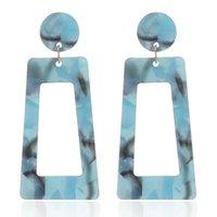 새로운 아세테이트 플레이트 매달려있는 귀걸이 스터드 여성 패션 액세서리 기하학적 긴 사각형 멀티 컬러 귀걸이 과장된 표범 인쇄