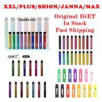 E Cigarrillo original Iget XXL Plus Shion Max Janna 1800 1200 600 450 2300 Puffs Kits de Dispositivo Dispositivo Desechable Vape Vape Stick Pen Vapor Kit vs Air Bar GunnPod 100% Alta Calidad