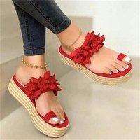 Dress Shoes Summer Women Sandals Flower Platform Casual Slip On Thick Bottom Slippers Sexy High Heels Flip Flops Beach Ladies