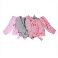7 12Y 패션 유아 아기 소녀 블라우스 줄무늬 인쇄 캐주얼 긴 소매 어깨 풀 오버 셔츠 탑 3 색