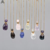 Natural Smoky Color Quartz Perfume Bottle Pendant Necklace Women Fluorite Stone Gold Stainless Steel Chains DSS-265AMCE Necklaces