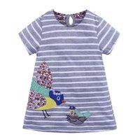 Mädchen Kleider A-Linie Kleid für Mädchen Horizontale Streifen Mode Design Baumwollgewebe O-Kragen Vivi