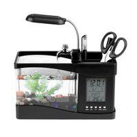 Desktop 미니 수족관 물고기 탱크 LED 빛 LCD 디스플레이 화면 및 시계 장식 자갈 수족관