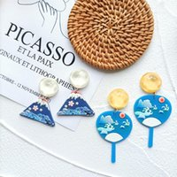 Dangle & Chandelier ZiccoWong Creative Design Blue Fan Long Earring For Women Girl Sea Glacier Exaggerated Acrylic Jewelry
