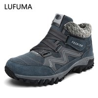 Lufuma Kış Erkekler Çizmeler Kürk Ile Sıcak Deri Kar Botları Erkekler Kış İş Rahat Ayakkabılar Sneakers Yüksek Üst Kauçuk Ayak Bileği Çizmeler 210831