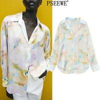 PSEEWE ZA Femmes Shirt Chemise Cravate Teinture Touche Touche Spring Femelle Spring à manches longues à manches longues Haut Y2K Casual Chic Blouse