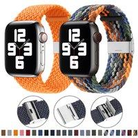 Нилоновая полоса ткани для Apple Watch Brap Series 6 SE 5 4 3 38 мм 40 мм 42 мм 44 мм Регулируемая плетение Solo Loop Elast для ремешка для часов