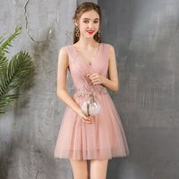 Party Dresses Homecoming Pink Tulle With Applique Elegant Backless Wedding Dress Return To Home Prom 2021