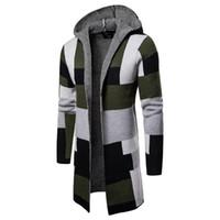 Дизайнерские свитеры с длинным рукавом кардиган с капюшоном мужские свитеры мода контрастный цвет мужской одежды клетки напечатаны мужские