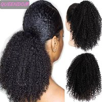 Synthetic Wigs Afro Kinky Curly Drawstring Ponytail Hair Clip In Pony Tail Ombre Short African American Hairpieces Brown