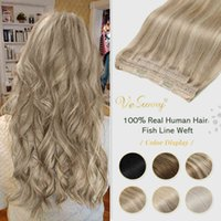 VeSunny Human Invisible Fishing Weft Blonde Wire Headband Halo Hair Extensions Machine made Remy