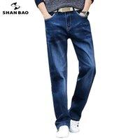 Shan Bao Automne Marque Droite Droit Lâche Denim Jeans Style Classic Style Young Homme Plus Taille de haute qualité Jeans occasionnels