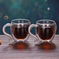 Wine Glasses Creative Crystal Handle Glass Coffee Mugs Transparent Double Layer Cup Milk Juice Tea Mug Valentine's Day Christmas Gift