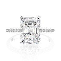 Ovas Real 925 Sterling Silver Esmeralda Corte Criado Anéis de Casamento Diamante de Moissanite para Mulheres Anel de Noivado Proposta de Luxo