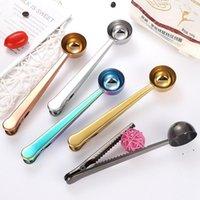 Cuchas de café de acero inoxidable con cucharas de cucharas de cucharadas de hornear cucharadas de leche en polvo cuchara herramientas de medición de cocina 5 colores EWB6772