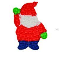 NEW2021 Christmas Silicone Cartoon Santa Claus Stress Relief Fidget Toys Push Bubble Decompression Sensory Finger Game CCE8794