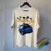 T Shirt 2021ss Rhude Yarış T-shirt Erkek Kadın 1: 1 Yüksek Kalite Formülü Araba Grafik Baskı Tee Tops