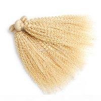 613 Loira Kinky Curly Virgem Europeia Weaves Afro Kinky Hair Bundles Deals 3 pcs Lote Loira Loira Extensão de Cabelo Humano Tece
