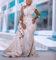 Plus Size Mermaid 2021 Wedding Dresses Bridal Gowns With Detachable Train Lace Appliqued Beaded Arabic Long Sleeve Custom Made robe de mariee
