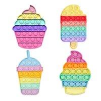 Desktop plezier duw bubble siliconen speelgoed ijs cupcakes vormige kinderen volwassen stress reliever fidget squeeze bord cadeau spel groothandel