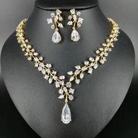 Earrings & Necklace Fashion Luxury Romantic Crystal Water Drop Zircon Golden Earring Set,wedding Bride Formal Jewelry !