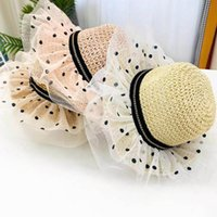 Baby Caps Kids Hats Girls Bucket Hat Straw Cap Wide Brim Children Summer Grass Braid Lace Dots Princess Sun 2-6Y B5378