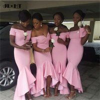 Bridesmaid Dress Pink Mermaid Hi Low Bridemaid Dresses Off The Shoulder Wedding Guest Simple African Black Women