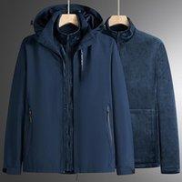 Men's Jackets Winter Thicken Warm 3 In 1 Fleece Jacket Men Womens Detachable Thermal Waterproof Coat Outdoor Riding Hiking + Liner
