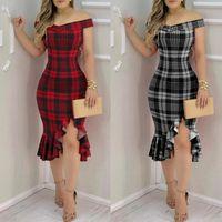 Abiti Delle Donne Fashion Plaid Dress Plain Brod Shoulder Rowflex Blam Slit Kobieta Sukienka Casual