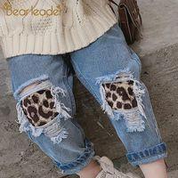 Jeans Bear Leader Girls Pants 2021 Spring Autumn Kids Leopard Ripped Hole Broken Denim Trousers Children Boy Girl 3 7Y