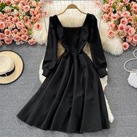 Casual Dresses Autumn 2021 Hepburn Retro Little Black Dress Square Collar Puff Sleeve High Waist Slimming Elegant Large Swing