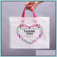 Wrap Event Festive Supplies Home & Garden50Pcs 28*33Cm 37*38Cm Plastic With Handle Thank You Gift Packing Bags Cookie Candy Party Drop Deliv